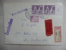 "DDR ROHRPOST DRUCKVERMERK Eil-R-Brief 1919 ""60 Pf Gr. Bauten"" ""Berlin 2.2.84"""