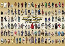 Vintage Star Wars Figure Reference Poster. 104 Figures 1977-1985 Gold AFA A3+