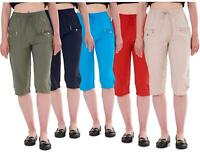Ladies Cropped Trousers Rich Cotton Elasticated Zip Pockets Women Capri M to 3XL
