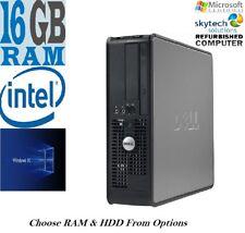 Rápido Dell Dual Core / C2D PC Torre Ordenador Fijo Windows 10 Wifi 16GB SSD 2TB