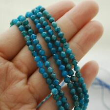 Apatite (Teal Blue)  Semi-Precious Gemstone FACETED Round Beads - 4mm - 15.5""