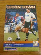 18/04/2000 Luton Town v Bristol City  . Bobfrankandelvis (aka Footy Progs) selle