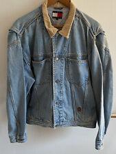 Vintage Tommy Hilfiger Denim Jacket Lion Crest Men's Lite Blue Tan Collar Large