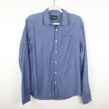 Scotch and Soda Mens Button Front Shirt Blue Chambray Regular Medium Ams Blauw