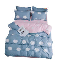 Bed Line Set Duvet Quilt Cover Bed Sheet 2 Pillow Shams Cozy Cotton Clouds S