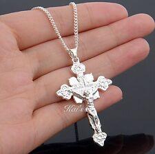 925 Sterling Silver Christian Jesus Cross Catholic Crucifix Pendant&Chain