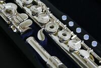 FLUTE Open Hole B Foot Silver Plated ENGRAVED Keys Lip POINTED Arms + Case & Bag