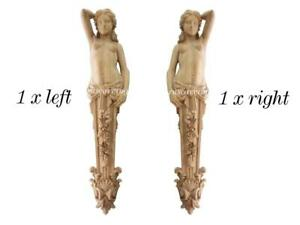 Pair wood corbels Caryatid, wooden victorian statue Woman for fireplace surround