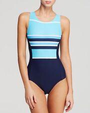 DKNY Swim Swimsuit 1 Pc High Neck Maillot Blue Size 6 Back Zipper   $110