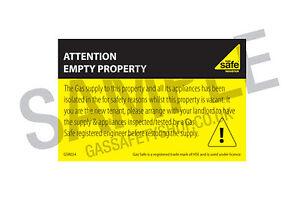 Gas Safe Attention Empty Property Label