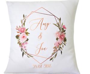 "Personalised Wedding geometric rose - 16"" cushion cover Mr & Mrs anniversary"