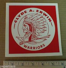 1970s Sticker Decal Clyde A Erwin Middle School Warriors Asheville buncombe NC