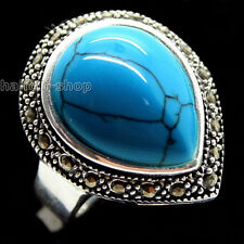 RARE BLUE TURQUOISE 925 STERLING SILVER RING SIZE 7/8/9/10 JEWELRY