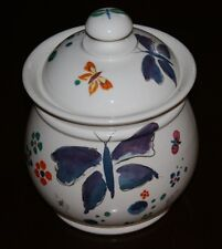 """Handcrafted Butterfly Canister Signed """" Facciolini"""" Castelli, Italy"""