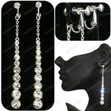 "CLIP ON 3.5""long CRYSTAL EARRINGS glass rhinestone SCREW CLIPS silver plated"