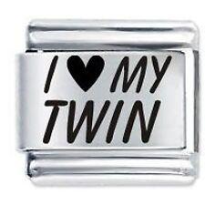 I LOVE MY TWIN - Daisy Charms by JSC Fits Classic Size Italian Charm Bracelet