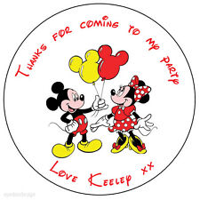 70x Personalised Mickey & Minnie Mouse Birthday Stickers Party Bag Thank You 162