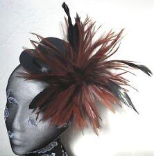 brown feather black mini top hat fascinator millinery burlesque wedding ascot