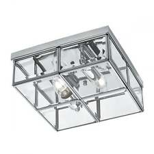 SEARCHLIGHT CLASSIC FLUSH CEILING LIGHT IN CHROME WITH BEVELLED GLASS 6769-26CC