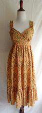 Joie Size 2 Orange & Gray Aztec Southwestern Print 100% Silk Summer Ruffle Dress
