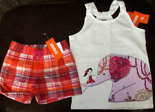 Gymboree Spice Market elephant top & plaid shorts set NWT 7
