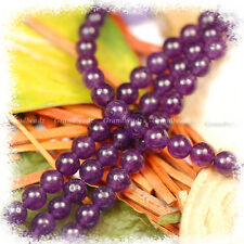 "Wholesales 10 strands x 8mm Amethyst Purple Gemstone Beads Round Shape 15.5""GB43"