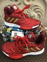 Adidas Harden Vol. 3 Marvel Iron Man Youth Basketball Shoes Red Gold Size 3.5