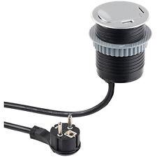 revolt Tisch-Einbausteckdose mit USB & Standard-Kabeldurchführungen, Ø 60 mm