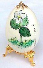 Hand Painted Decorative Egg Asian, with Brass Stand