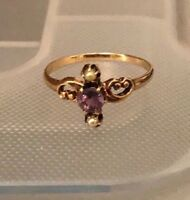 Antique Victorian 14K Rose Gold Amethyst & seed Pearl Ring Size 6.25