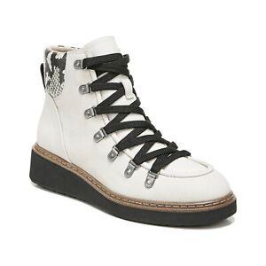 Dr Scholls Women Wedge Heel Combat Boots Road Trip Size US 8M Tofu Beige Leather