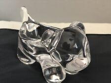 Vintage Art Vannes France Crystal Clear Cob Lion Dish / Bowl Signed
