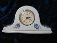 Elgin Quartz Mini Mantel Style Clock Porcelain w Gold Edge Blue Floral Works