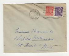 France 2 timbres sur lettre 1939 tampon Paris XV /L622