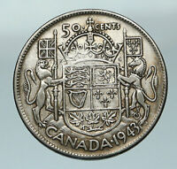 1943 CANADA WWII Time UK King GEORGE VI Coat-of-Arms SILVER 50 Cents Coin i84567