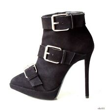 new $1250 Giuseppe ZANOTTI 'Emy' black suede pointy toe BUCKLE ankle boots 36 6