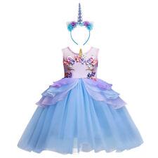 Flower Girl Unicorn Dress Tutu Princess Cosplay Costumes for Kid Birthday Party