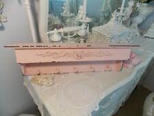 Shabby Cottage Chic Pink Chippy Wood Wall Shelf W/ Peg Organizer & Pink Rose