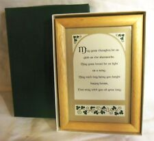"Irish Framed Print / Wall Art ""May Your Thoughts . . Shamrocks"" Gift Boxed - New"