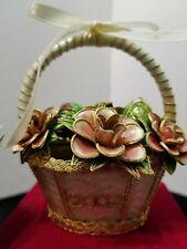 "Dillard'S Cloisonne Flower Basket Christmas Ornament 2002 W/Red Case 4"" X 4.5"""