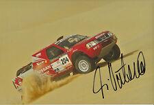 Ari Vatanen mano firmado 12x8 Foto Nissan Paris Dakar 2003.