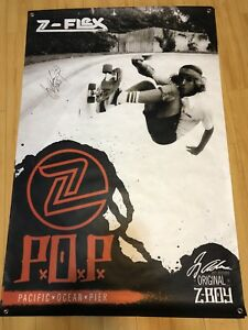 Jay Adams Autographed Z-Flex P.O.P. Dogtown Skateboarding Huge 36x54in. Banner