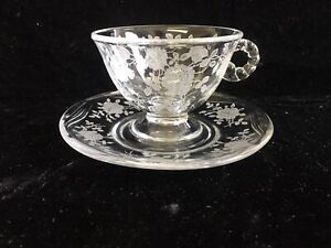 Fostoria Willowmere etched Clear cup & saucer