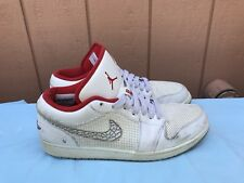 Nike Air Jordan Retro 1 Phat Low Shoes White Red Sz 13 US Sneakers 338145-162 A6
