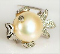 VINTAGE 14K WHITE GOLD MABE PEARL DIAMOND EYE BEAUTIFUL FINE FISH BROOCH PIN !!!