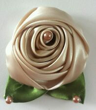 LADIES 5.5CM SATIN Rose Flower Hair Clip, Brooch, corsage BEIGE GOLD CARAMEL.