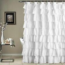 Shower Curtain Ruffled Bathrooms Decorations Plain Waterproof Corrugated Edge