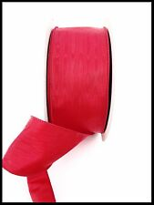 3IN RED MOIRE CHRISTMAS WIRED RIBBON WIRE EDGE WATERMARKED RIBBON 3'' X 50 YDS