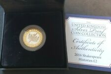 More details for royal mint silver proof 2016 shakespeare £2 in original case with certificate.