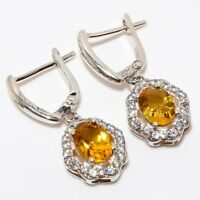 "Aaa+++ Citrine, White Topaz Gemstone 925 Sterling Silver Earring 1.18"" E-32"